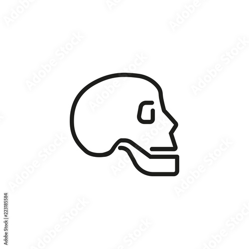 Scull Line Icon Human Head Bone Profile Anatomy Concept Can Be