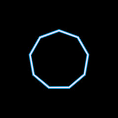 decagon... icon in neon style. One of geometric figure collection icon can be used for UI, UX