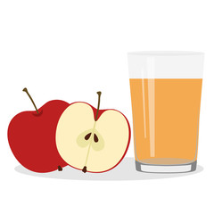 Healthy Lifestyle. Freshly squeezed juice in a glass. Apples.