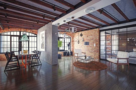 modern loft interior.