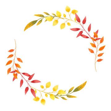 Autumn wreath Watercolor leaves frame for Invitation design