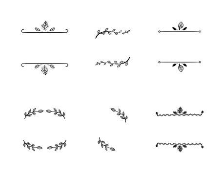 Vector Set of Doodle Floral Frames, Vignettes, Black Lines Isolated on White Background.