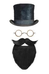 Vintage gentleman hat, glasses and black beard with curly mustache isolated on white
