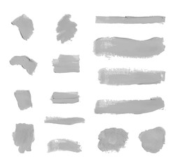 Vector Set of Colorless Gray Paint Smudges, Cosmetics Texture, Design Element Isolated.
