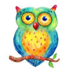 Sweet Watercolor owl sits on a branch illustration on white background, in cartoon childish style. Hand drawn funny owl character. Greeting card, poster, with cute, sweet owl