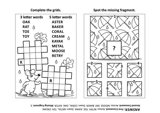Activity page with two puzzles. Fill-in crossword puzzle or word game. Spot the missing fragment of the floral pattern. Black and white. Answers included.