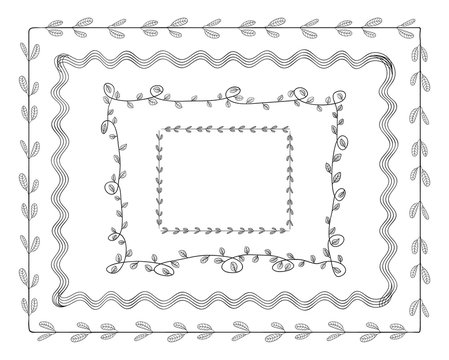 Vector Doodle Frames Set Isolated on White Background, Cute Illustration Tamplate, Borders.
