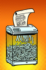 paper shredder, office appliance. secret information
