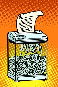 paper shredder, office appliance. secret information
