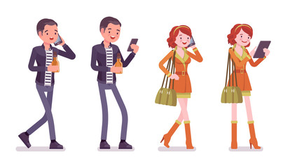 Young man and woman with gadgets