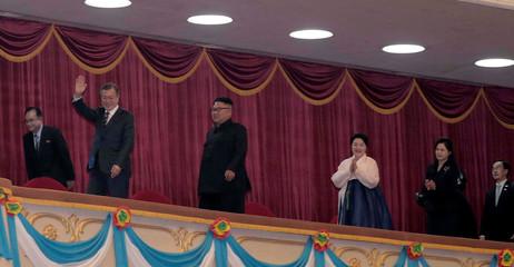South Korean President Moon Jae-in, his wife Kim Jung-sook, North Korean leader Kim Jong Un and his wife Ri Sol Ju, arrive at Pyongyang Grand Theatre in Pyongyang