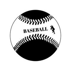 Baseball ball black template on white vector illustration