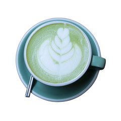 A cup of Green Tea Latte isolated on white background. This has clipping path.