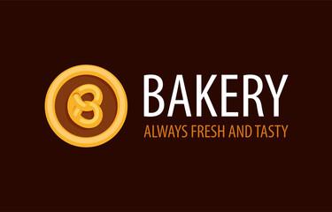 Backery logo with Pretzel in Circle - Always Fresh and Tasty