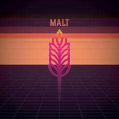 beer malt, beer ingredients, malt in retro graphic