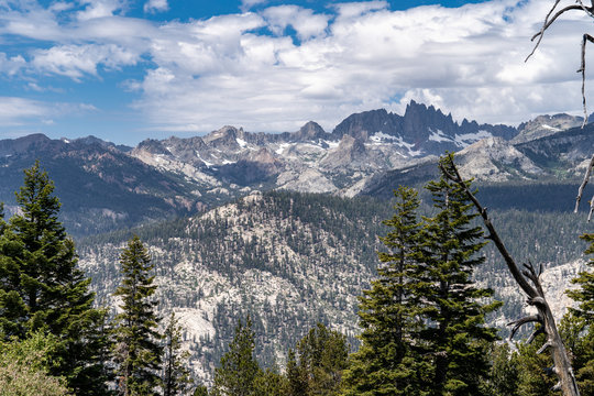 View of the Minarets from Minaret Vista in Mammoth Lakes California in the Eastern Sierra