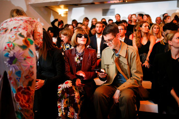 Anna Wintour attends the Richard Quinn catwalk show during London Fashion Week in London