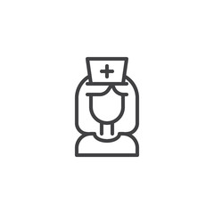 Nurse outline icon. linear style sign for mobile concept and web design. Female doctor simple line vector icon. Symbol, logo illustration. Pixel perfect vector graphics