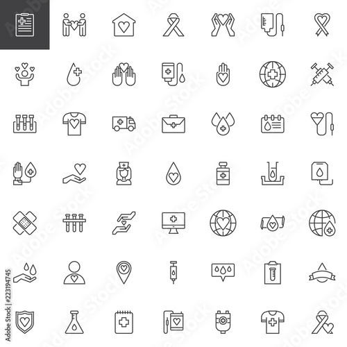 Blood Donation Outline Icons Set Linear Style Symbols Collection