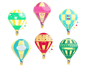 Set of six vivid colourful hot air balloons with a man in the basket isolated on the white background