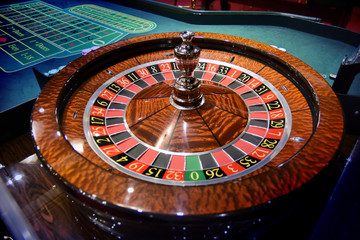 Play roulette with chips in a casino