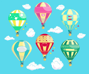 Set of six vivid colourful hot air balloons with clouds on the blue background