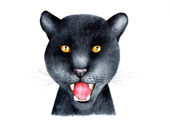 Portrait of a Panther. Watercolor illustration. Portrait of a black Panther painted in watercolor. Illustration for printing on t-shirts, fabrics, magazines about animals.