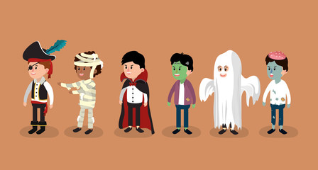 Set of halloween boys