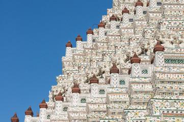 Closeup of the symmetrical decorations of Wat Arun, Bangkok