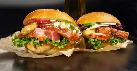 Krustenbraten Brötchen - Hamburger