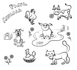 Farm animals in a linear style. Set of vector illustration.