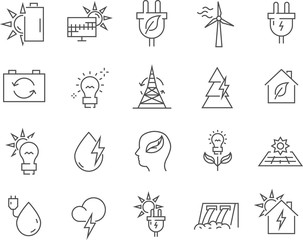 Set of alternative energy line vector icons.