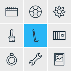 Vector illustration of 9 hobby icons line style. Editable set of football, calendar, ring and other icon elements.
