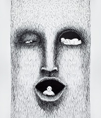 Beautiful black and white stylized illustration made by hand that represents a stylezed face with three people inside of it