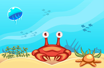 Illustration of a crab on underwater vector world background with jellyfish, fishes, seaweed, ship, sand and a starfish