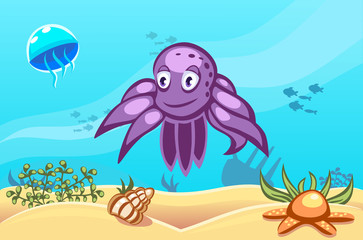 Illustration of an octopus on underwater vector world background with jellyfish, fishes, seaweed, ship, sand, seashell and a starfish