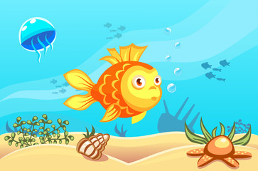 Illustration of a goldfish on underwater vector world background with jellyfish, fishes, seaweed, ship, sand, seashell and a starfish