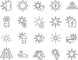 Set of solar power line vector icons.