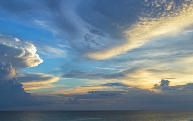Clouds at dusk over ocean