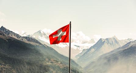 Schweizer Flagge im Wallis Wall mural
