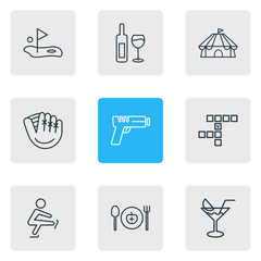 Vector illustration of 9 hobby icons line style. Editable set of cocktail, cirque, golf and other icon elements.