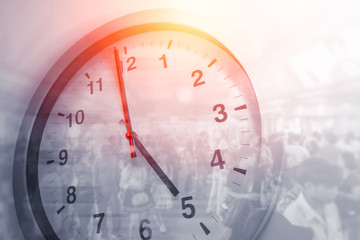 Business times hours concept people crowded walking overlay with time clock