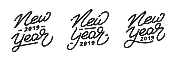 New Year 2019. Set of hand lettering labels for New Year