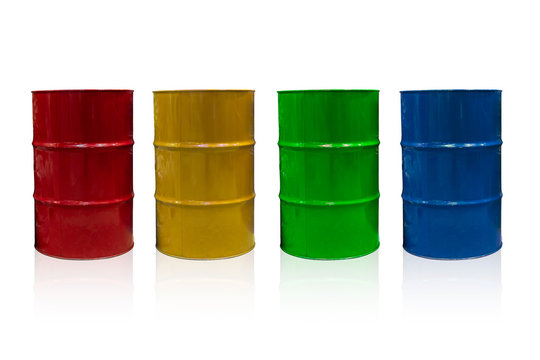 55 Gallon Steel Barrel tank for Industrial Liquid Chemical Container isolated on white with clipping path.