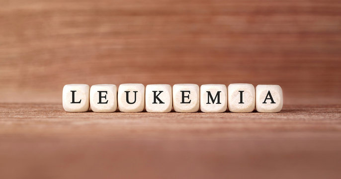 Word LEUKEMIA made with wood building blocks