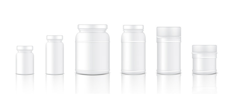 Mock up Realistic Plastic Packaging Product Jar For Protein or Medicine Bottle isolated Background.