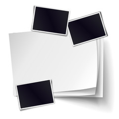 Vector stack of blank paper sheets with soft shadows isolated on white background. Empty white sheet of A4 format, photo frames. Realistic empty paper objects.
