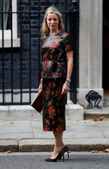 Chair of the British Fashion Council, Stephanie Phair, arrives in Downing Street for a reception that is  part of British Fashion Week, in London
