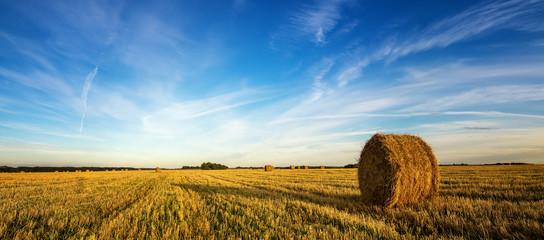 осенний пейзаж в поле с сеном вечером, Россия, Урал, сентябрь
