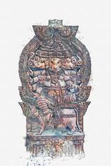 illustration God Ganesha is an elephant fulfilling desires. Hindu deity. Watercolor sketch